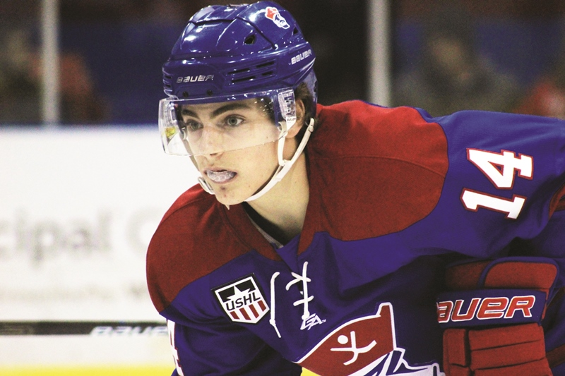 Alex Laferriere of the Des Moines Buccaneers was a 2020 NHL Draft prospect at the Beantown Summer Classic.
